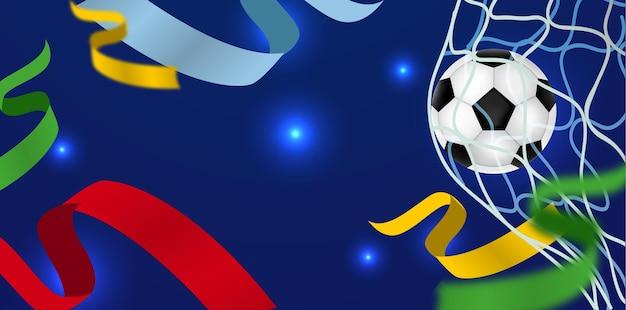 Banner de futebol com fitas coloridas