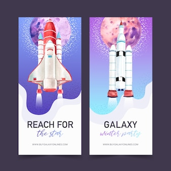 Banner de galáxia com foguete, ilustração em aquarela planeta.