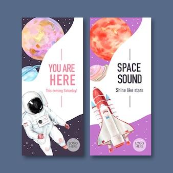 Banner de galáxia com foguete, planeta, ilustração em aquarela de astronauta.