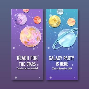 Banner de galáxia com ilustração em aquarela de planetas.