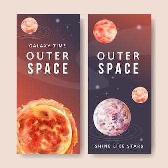 Banner de galáxia com sol, ilustração em aquarela de planetas.