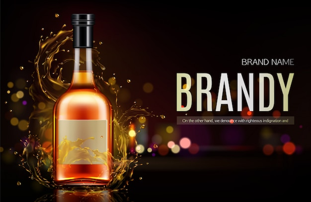 Banner de garrafa de conhaque