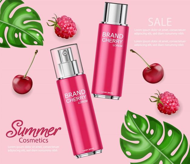 Banner de garrafas realistas de perfume de cereja