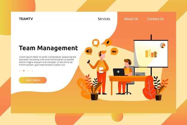 Banner de gerenciamento de trabalho em equipe e ilustração de página de aterrissagem