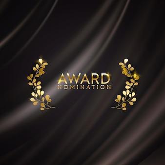 Banner de glitter dourado vencedor com coroa de louros. plano de fundo do design de indicação ao prêmio. modelo de convite de luxo para cerimônia de vetor, textura realista de tecido abstrato de seda, candidato a prêmio em negócios
