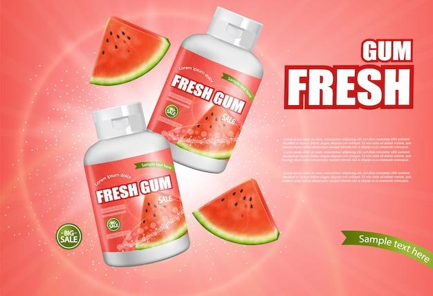 Banner de goma de mascar melancia