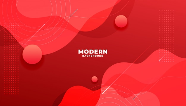 Banner de gradiente vermelho fluido moderno com formas de curva