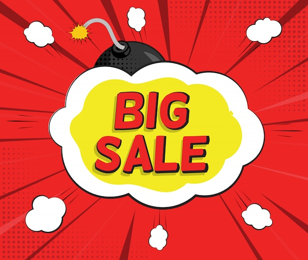 Banner de grande venda com bolha do discurso e bomba em estilo pop art