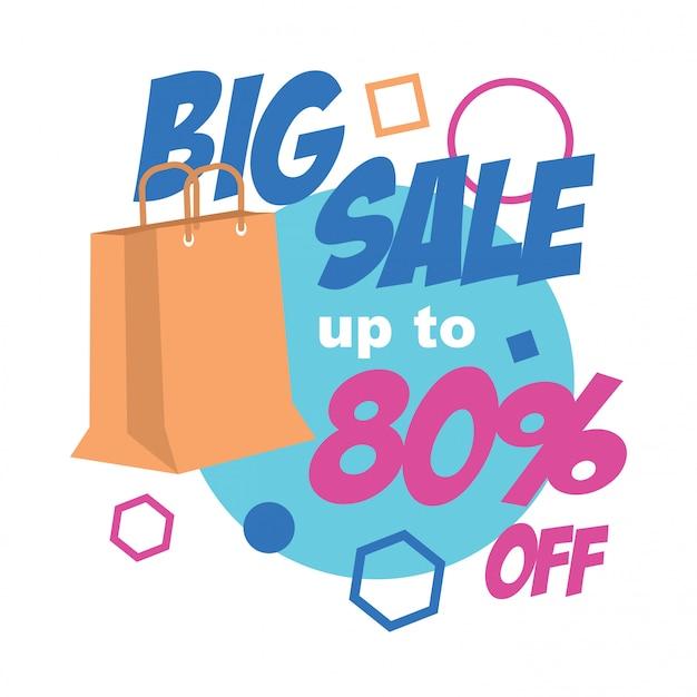 Banner de grande venda com ilustração de sacola de compras