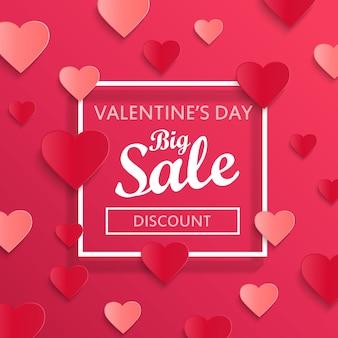 Banner de grande venda de dia dos namorados com corações