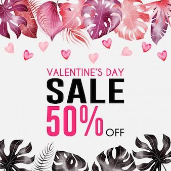 Banner de grande venda de dia dos namorados com folhas tropicais em aquarela