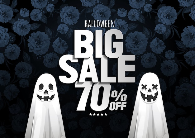 Banner de grande venda de halloween com fantasma no fundo da flor