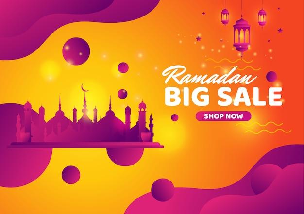 Banner de grande venda do ramadã