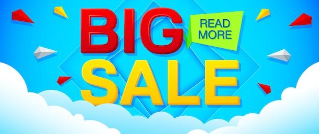 Banner de grande venda e oferta especial em um fundo azul brilhante