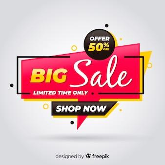 Banner de grande venda em design plano