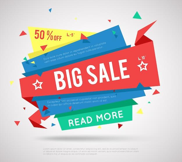 Banner de grande venda. etiqueta de venda moderna, super venda ou banner de venda de oferta especial