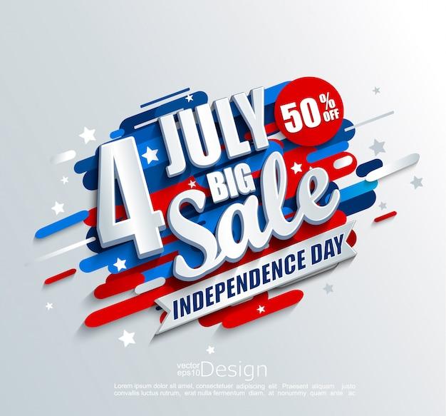 Banner de grande venda para o dia da independência 4 de julho nos eua
