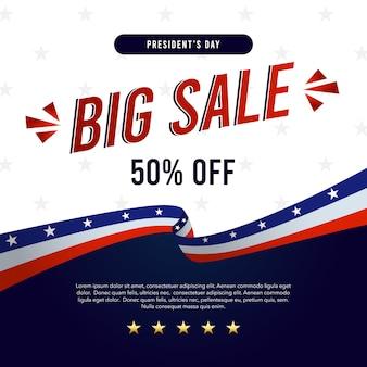 Banner de grande venda para o dia dos presidentes