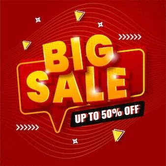 Banner de grande venda para promoção nas cores vermelha e amarela