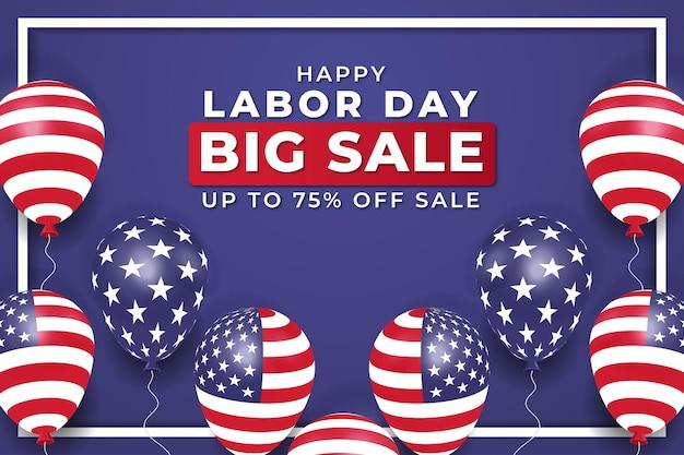 Banner de grande venda realista do dia do trabalho com balões vetor premium
