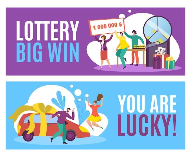 Banner de grande vitória na loteria, conceito de jogo da sorte