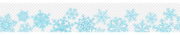 Banner de grandes flocos de neve de natal translúcidos complexos em cores azuis claras, isolados em fundo transparente. com repetição horizontal contínua. transparência apenas em formato vetorial Vetor Premium