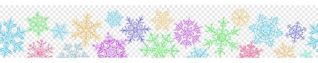 Banner de grandes flocos de neve de natal translúcidos complexos em várias cores, isolados em fundo transparente. com repetição horizontal contínua. transparência apenas em formato vetorial