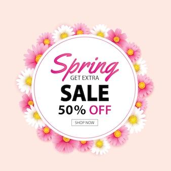Banner de grinalda de círculo de venda de primavera com fundo de flores
