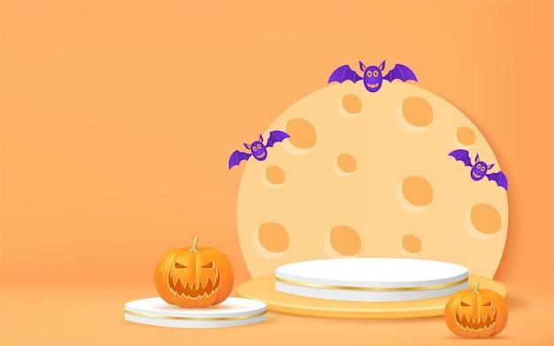 Banner de halloween 3d com morcego abóbora pódio