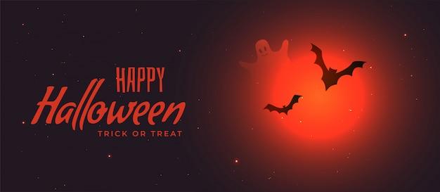 Banner de halloween assustador com lua vermelha e morcegos voando