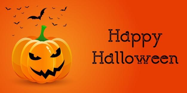 Banner de halloween com abóbora e morcegos