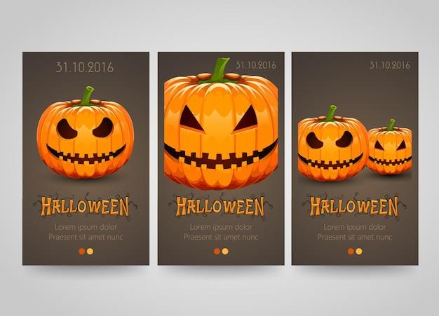 Banner de halloween com abóboras assustadoras.