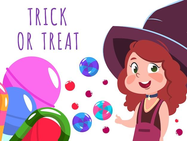 Banner de halloween com bruxa de personagem de desenho animado e doces