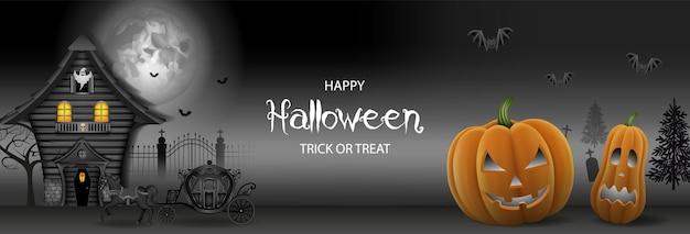 Banner de halloween com casa mal-assombrada e abóboras