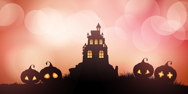 Banner de halloween com castelo e abóboras