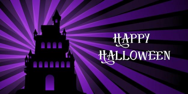 Banner de halloween com castelo no design de starburst