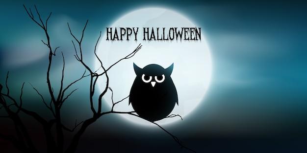 Banner de halloween com coruja e árvore contra a lua