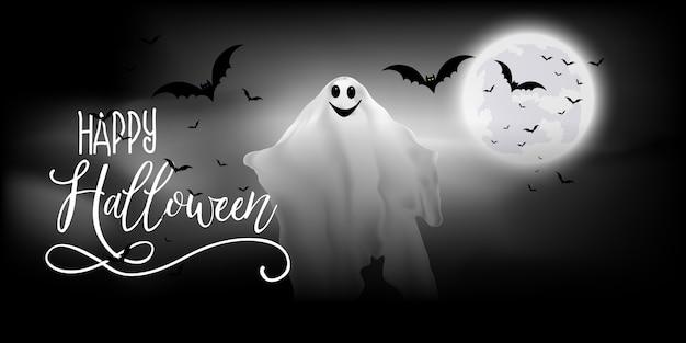 Banner de halloween com desenho de fantasmas e morcegos