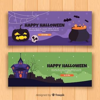 Banner de halloween com design plano