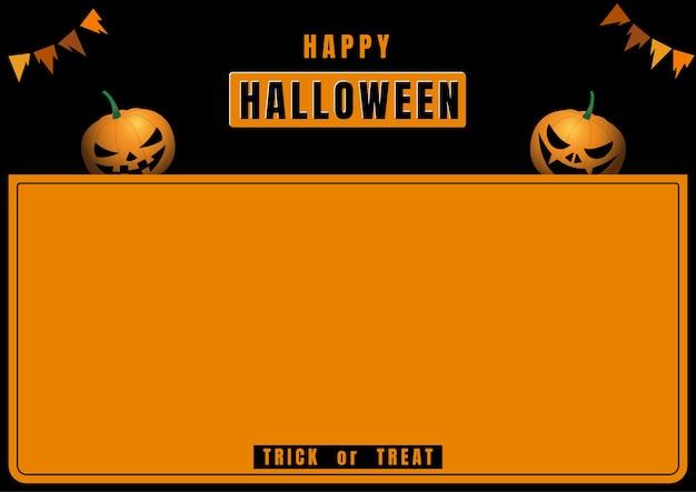 Banner de halloween com diabo de abóbora em moldura preta e laranja