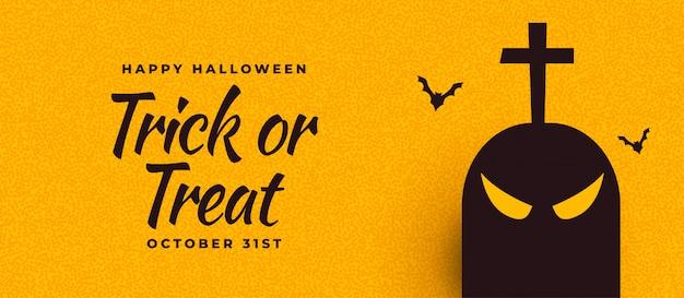 Banner de halloween com fantasma e morcegos assustadores