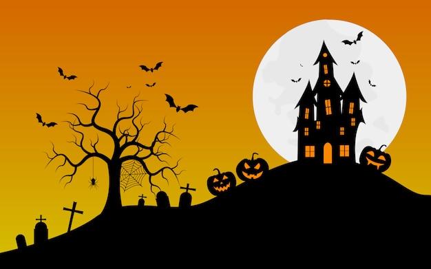 Banner de halloween com fundo de aranhas