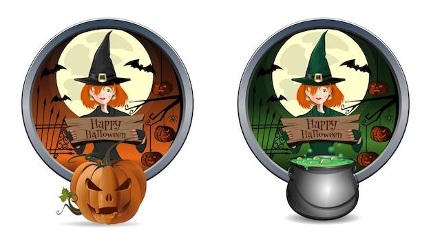 Banner de halloween com jovem bruxa bonita e jack-o-lantern.