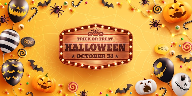 Banner de halloween com linda abóbora de halloween, morcego, aranha e doces.