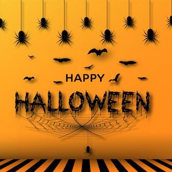 Banner de halloween com morcegos, aranhas e teia de aranha em fundo laranja. vetor