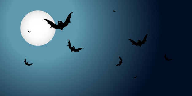Banner de halloween com morcegos pretos voando sobre a lua em um fundo escuro. cartaz horizontal com espaço de cópia