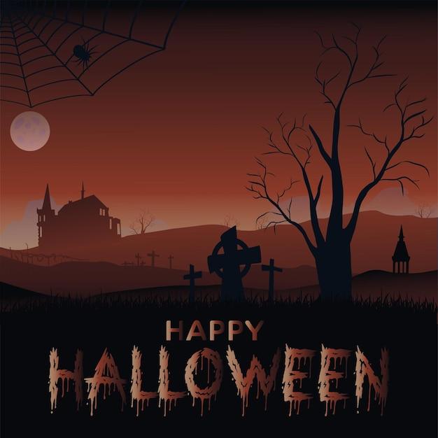 Banner de halloween com o velho castelo de morcegos e a lua. vetor