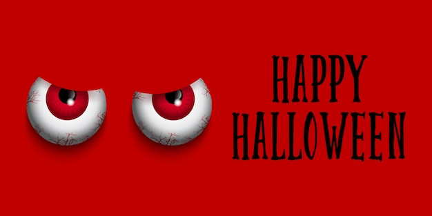 Banner de halloween com olhos do mal