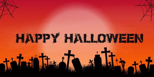Banner de halloween com silhueta de cemitério