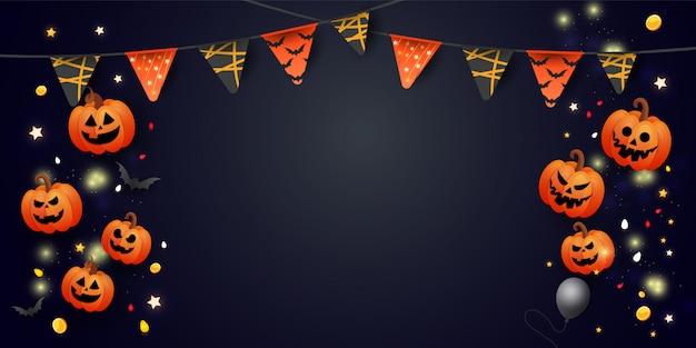 Banner de halloween com símbolos abóbora, guirlandas coloridas e doces em fundo escuro gradiente.